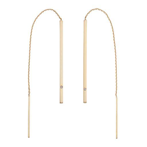 14k Gold Stick Threader Earrings