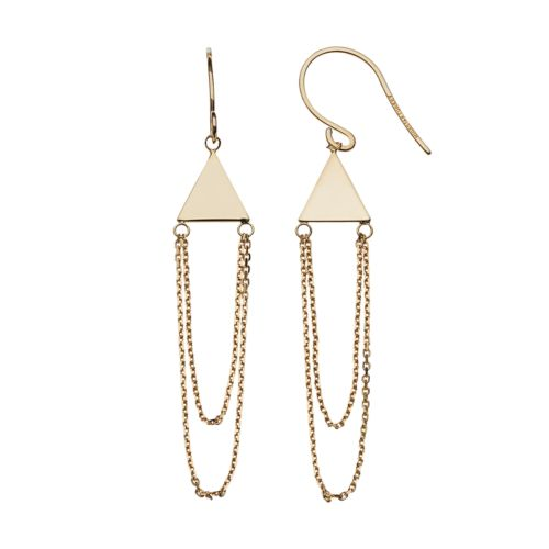14k Yellow Gold Pyramid Swag Earrings
