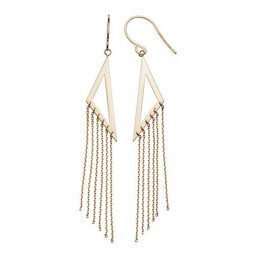 14k Yellow Gold Triangle Tassel Earrings