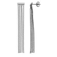 14k White Gold Mini Bar Tassel Earrings