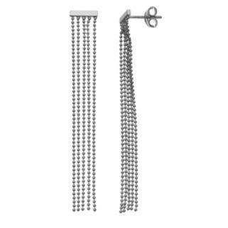 14k White Gold Mini Bar Tassel Earrings