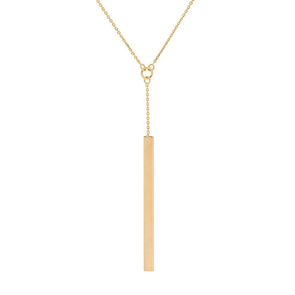 14k Gold Vertical Bar Y Necklace