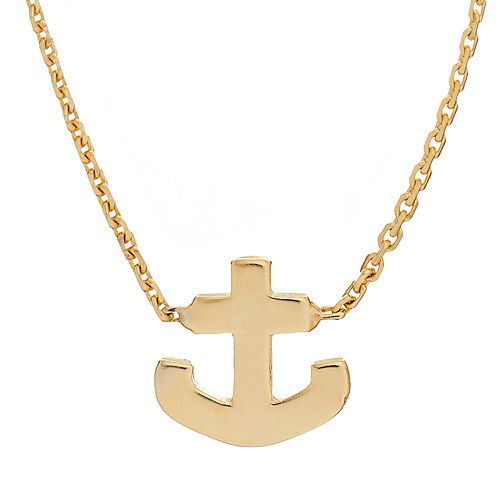 14k Gold Anchor Necklace