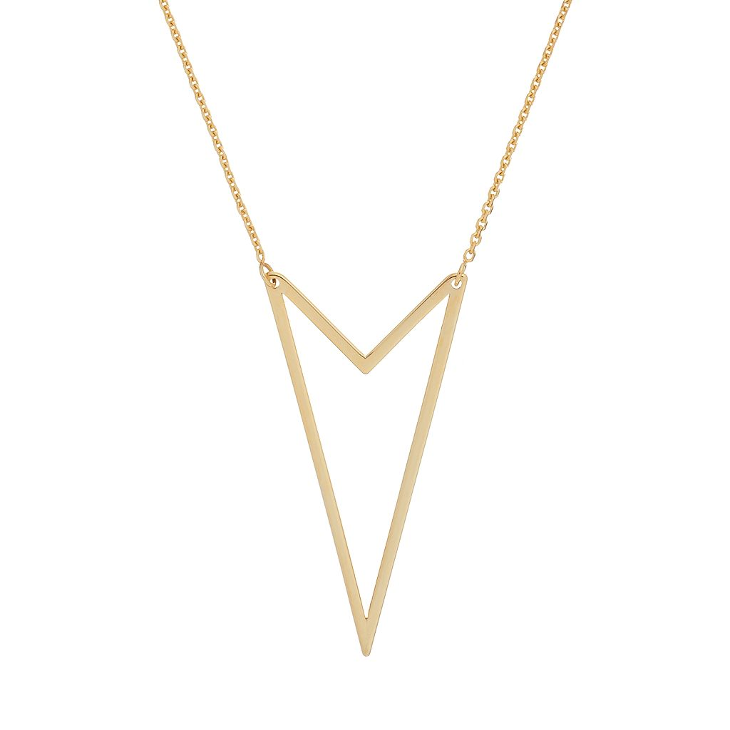 14k Gold Double V Necklace