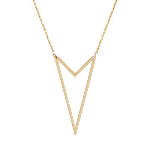 14k Gold Double V Necklace