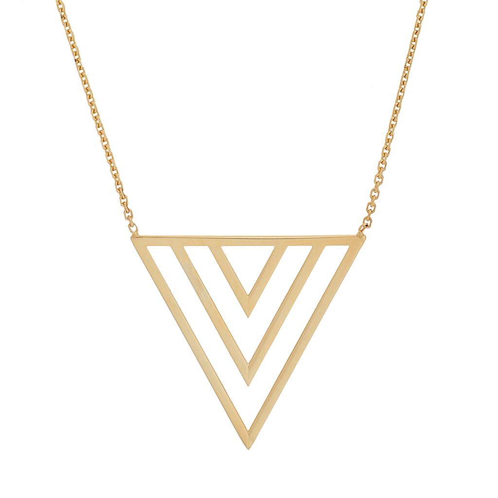 14k Gold Triple V Necklace