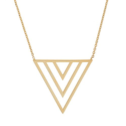 14k Gold Triple V Necklace