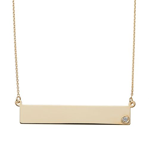 Diamond Accent 14k Gold Bar Necklace