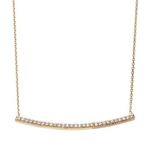 1/5 Carat T.W. Diamond 14k Gold Curved Bar Necklace