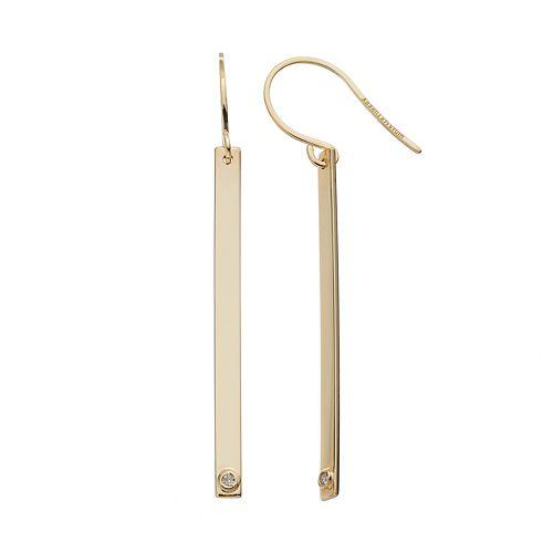 14k Gold Diamond Accent Bar Drop Earrings