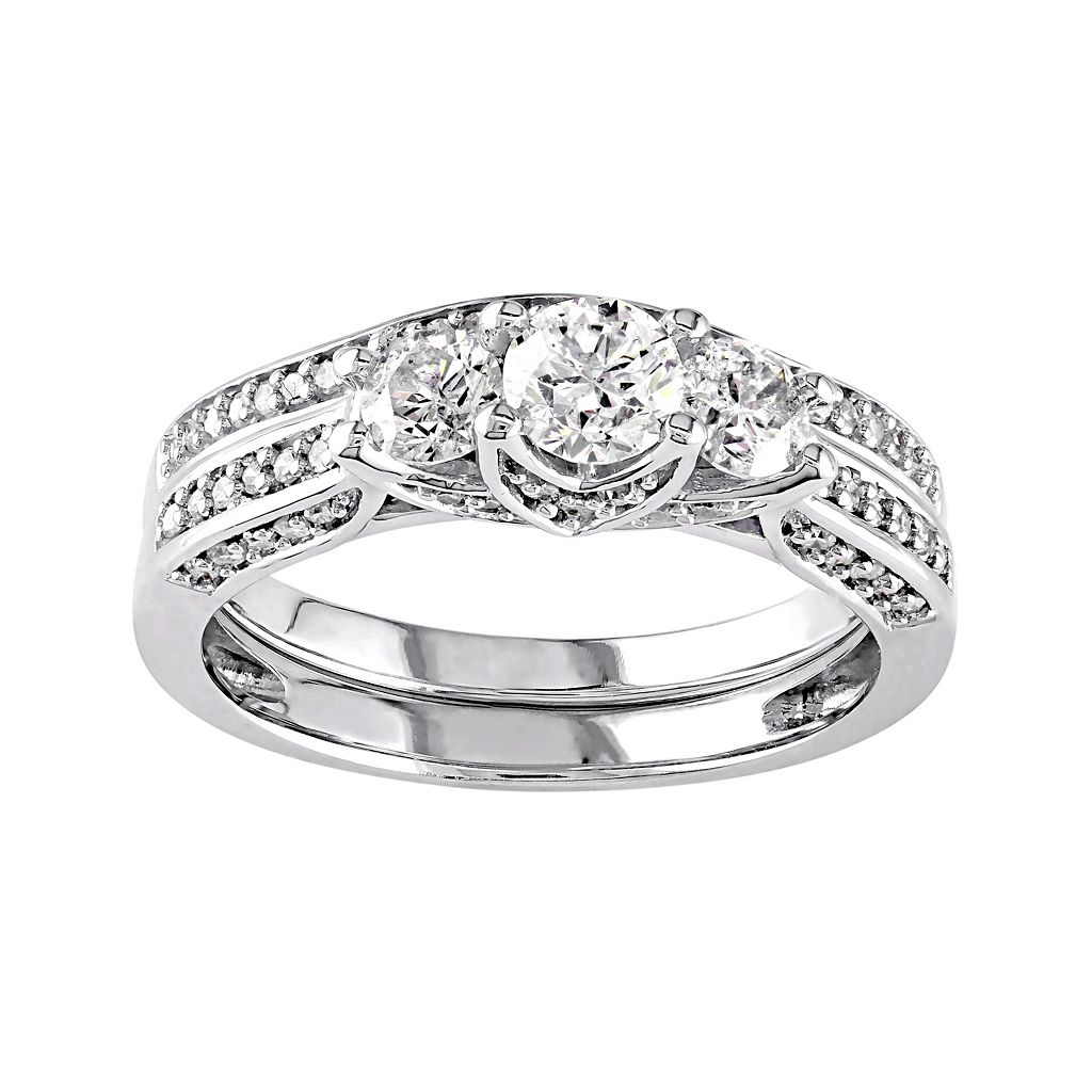 14k White Gold 1 1/10 Carat T.W. Diamond 3-Stone Tiered Engagement Ring Set