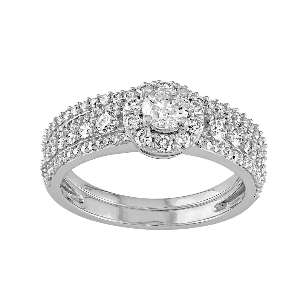 14k White Gold 1 1/8 Carat T.W. Diamond Halo Engagement Ring Set