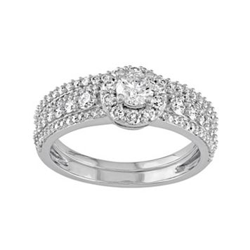 14k White Gold 1 1/8 Carat T.W. Diamond Halo Engagement Ring Set