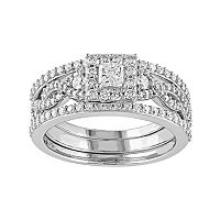 10k White Gold 1 Carat T.W. Diamond Square Halo Engagement Ring Set
