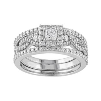 Stella Grace 10k White Gold 1 Carat T.W. Diamond Square Halo Engagement Ring Set