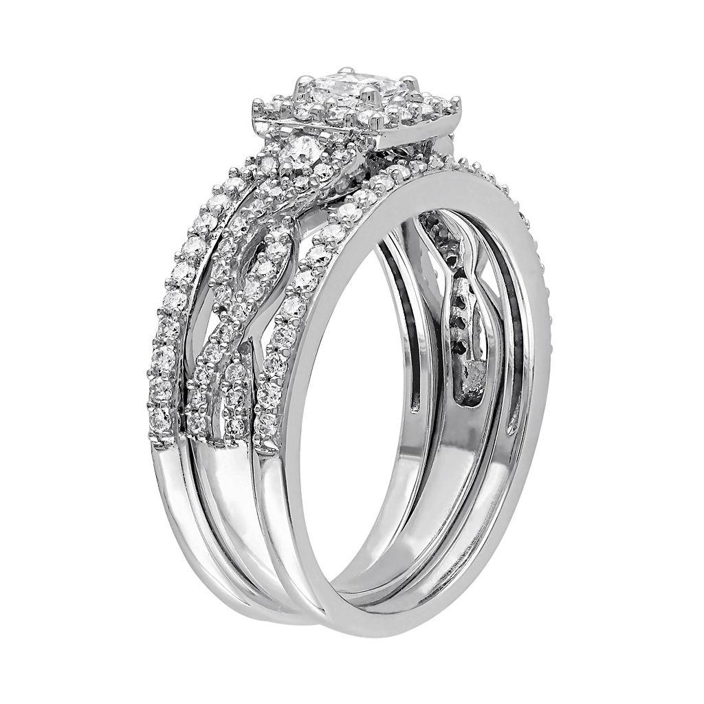 10k White Gold 1 Carat T.W. Diamond Square Halo Engagement Ring Set