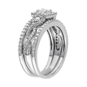 Stella Grace 10k White Gold 1 Carat T.W. Diamond Square Halo Engagement Ring Set