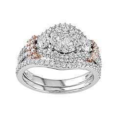 Stella Grace Two Tone 10k Gold 1 1/2 Carat T.W. Diamond 3-Stone Halo Engagement Ring Set