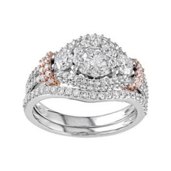 Stella Grace Two Tone 10k Gold 1 1/2 Carat T.W. Diamond 3-Stone Halo Engagement Ring Set