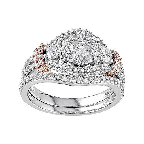 Two Tone 10k Gold 1 1/2 Carat T.W. Diamond 3-Stone Halo Engagement Ring Set
