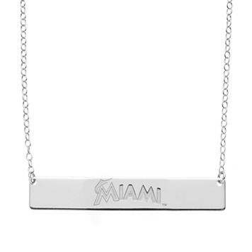 Miami Marlins Sterling Silver Bar Necklace