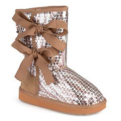 Journee K-Bow Girls' Sequined Bow Boots