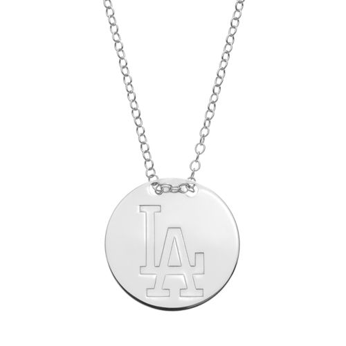 Los Angeles Dodgers Sterling Silver Disc Pendant Necklace