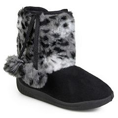 Journee Girls' Pom Pom Faux-Fur Boots