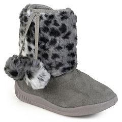 Journee Girls' Pom Pom Faux-Fur Boots