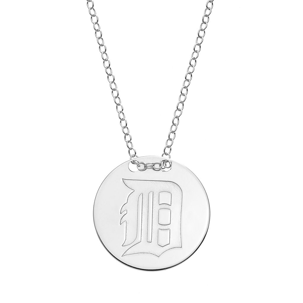 Detroit Tigers Sterling Silver Disc Pendant Necklace