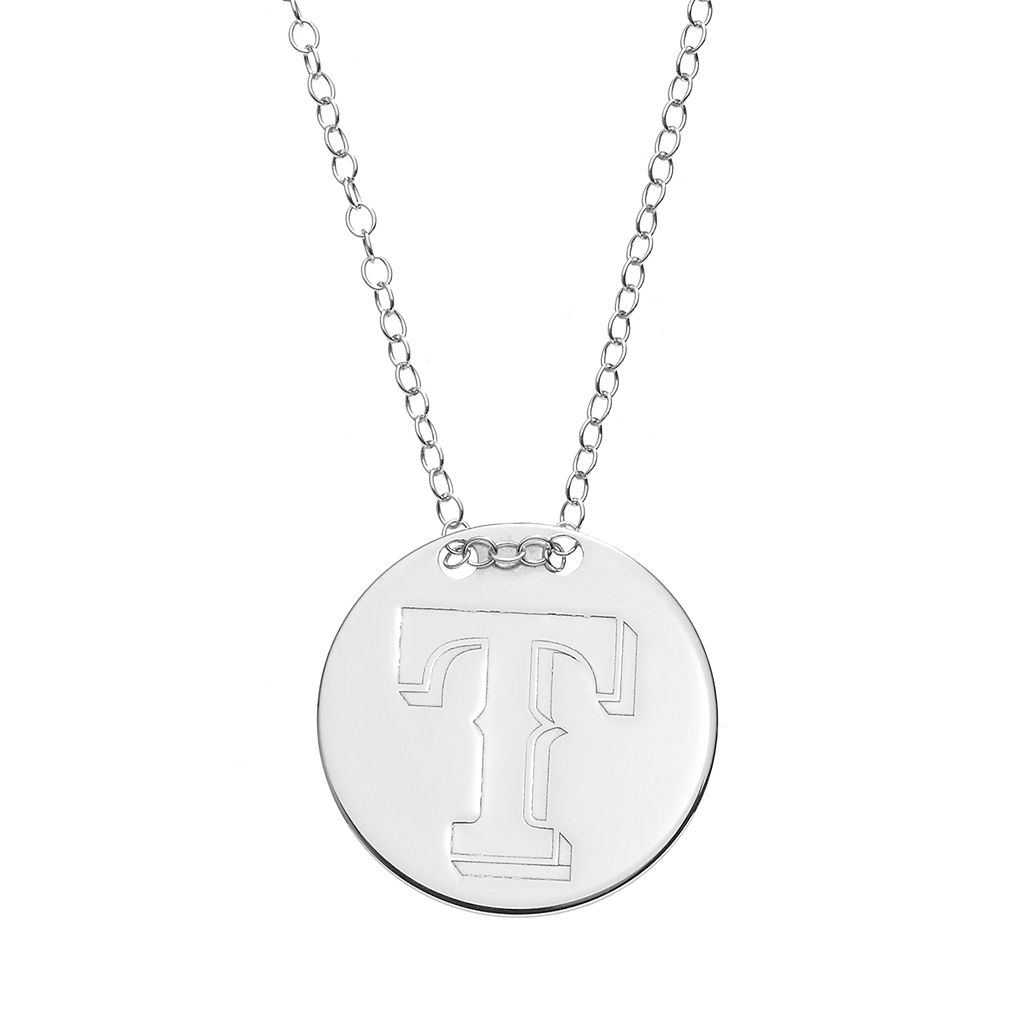 Texas Rangers Sterling Silver Disc Pendant Necklace