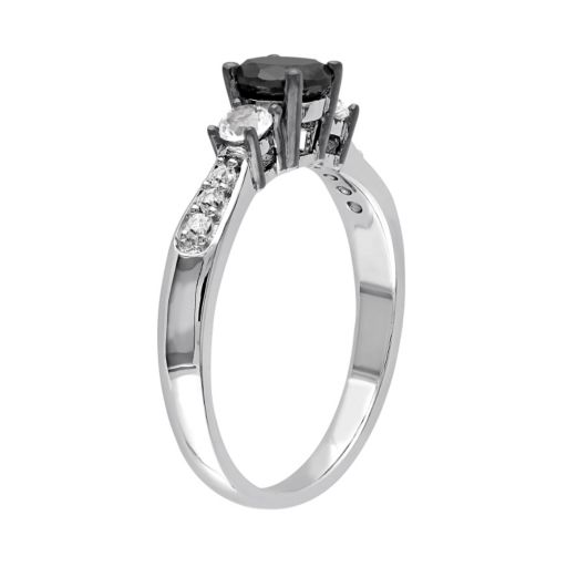 Sterling Silver 3/4 Carat T.W. Black Diamond & Lab-Created White Sapphire 3-Stone Engagement Ring