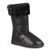 Journee Spark Girls' Sequined Faux-Fur Trim Boots