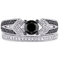 Sterling Silver 1 1/8 Carat T.W. Black & White Diamond Engagement Ring Set
