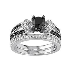 Sterling Silver 1 1/8 Carat T.W. Black & White Diamond Engagement Ring Set