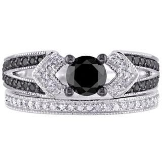 Stella Grace Sterling Silver 1 1/8 Carat T.W. Black & White Diamond Engagement Ring Set