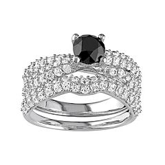 Sterling Silver 1 Carat T.W. Black Diamond & Lab-Created White Sapphire Multirow Engagement Ring Set by
