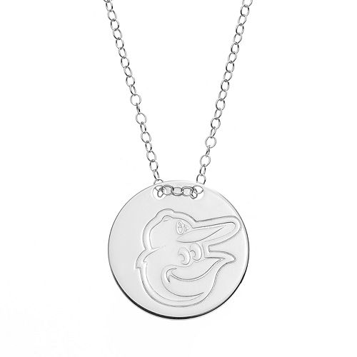 Baltimore Orioles Sterling Silver Disc Pendant Necklace