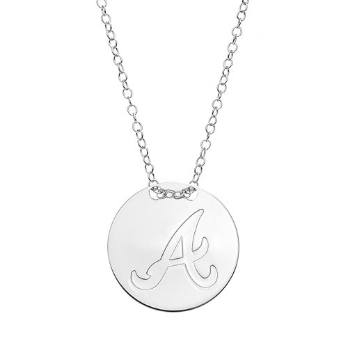 Atlanta Braves Sterling Silver Disc Pendant Necklace