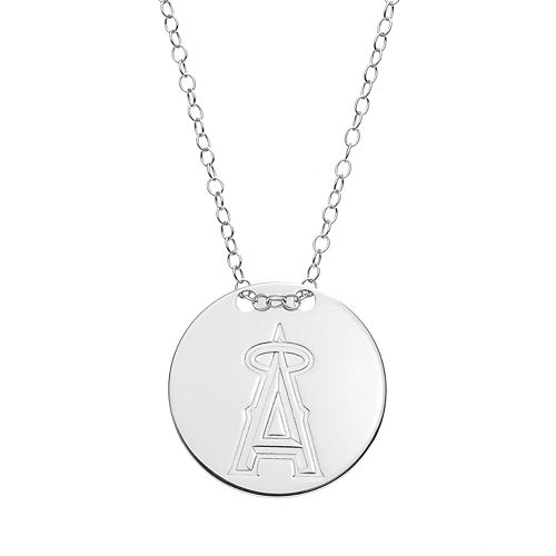 Los Angeles Angels of Anaheim Sterling Silver Disc Pendant Necklace