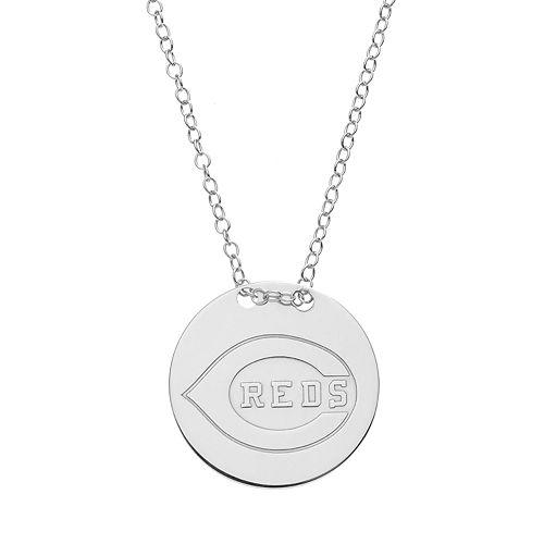Cincinnati Reds Sterling Silver Disc Pendant Necklace
