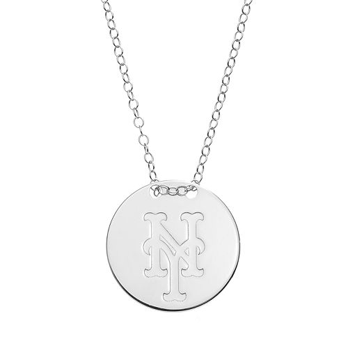 New York Mets Sterling Silver Disc Pendant Necklace