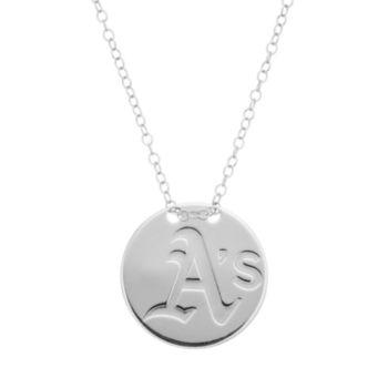Oakland Athletics Sterling Silver Disc Pendant Necklace