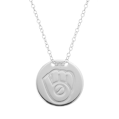 Milwaukee Brewers Sterling Silver Disc Pendant Necklace