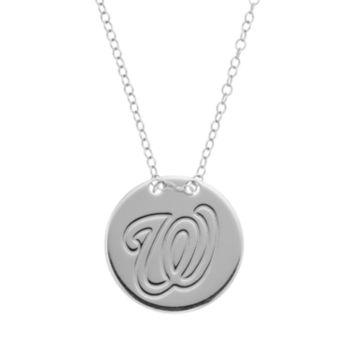 Washington Nationals Sterling Silver Disc Pendant Necklace