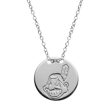 Cleveland Indians Sterling Silver Disc Pendant Necklace