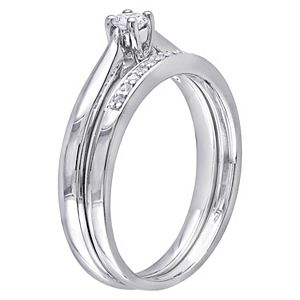 Stella Grace Sterling Silver 1/6 Carat T.W. Diamond Engagement Ring Set