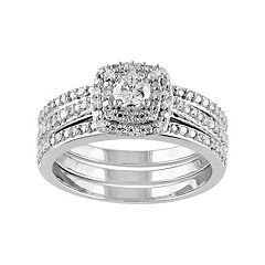 Sterling Silver 1/2 Carat T.W. Diamond Square Halo Engagement Ring Set