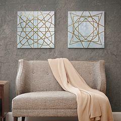 Madison Park Metallic Ink Geometric Canvas Wall Art 2 pc Set
