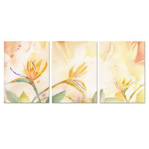 Trademark Fine Art ''Birds of Paradise Tableau'' 3-piece Canvas Art Set